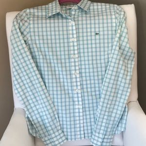 Lacoste Long Sleeve Gingham Button Down Shirt